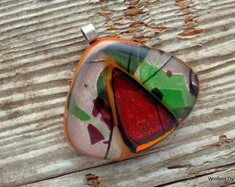 Red Centered in Nature Fused Glass Pendant
