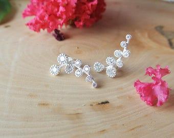 925 Sterling silver leaf flower stud earrings with cubic zirconia pave, bridal earrings