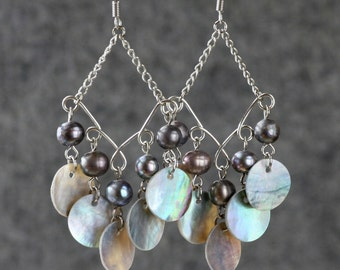 Beige Pearl shell dangling chandelier Earrings Bridesmaids gifts Free US Shipping handmade Anni Designs