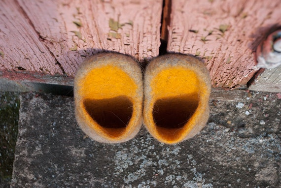 slippers Slip home orange Wool Closed in slip for slippers slippers toe on felted slippers slide slides Mules Rustic Unisex shoes him Pwqfp1x1