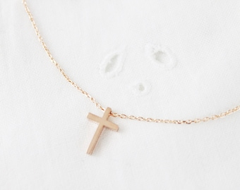 Tiny Rose Gold Cross Necklace Dainty Cross Necklace Bridesmaid Gift Birthday Gift