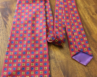 Primary Colors Wide Tie, Red Vintage Tie with Blue and Yellow Flowers, 70s retro necktie