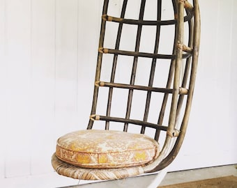 Mid-Century Woven Hanging Nest Chair with Original Metal Base