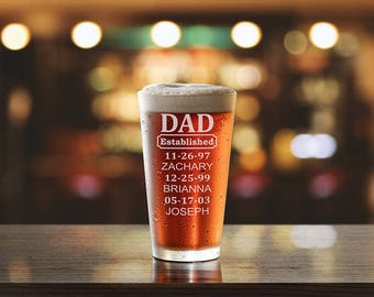 Personalized Beer Glass, Dad Gift, Fathers Day, Custom Beer Glass, Monogram Beer Glass, Etched Pub Glasses, PTPG003