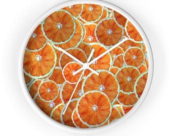 Orange Clock, Orange Decor, Orange Gifts, Oranges, Sliced Oranges, Fruit Clock, Fruit Decor, Kitchen Clock, Cool Clock, Fruits, Food Clock