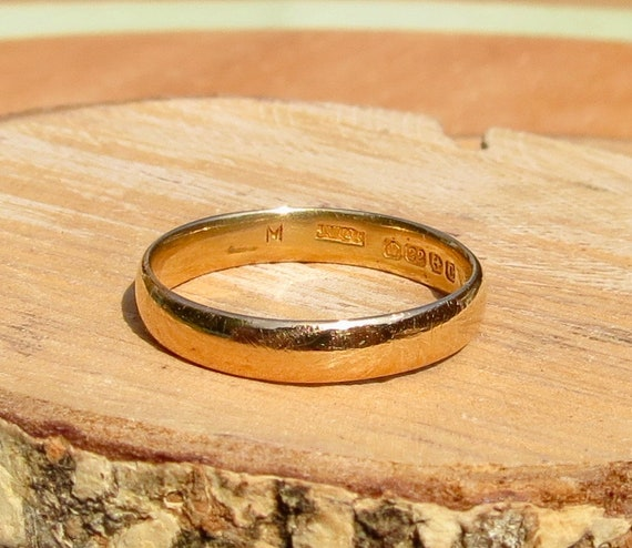 Art Deco wedding ring 22k yellow gold band made in 1927