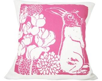 Hot Pink Bunny Pillow, Kid Pillow, Hot PInk, Cotton Bark Cloth, 20x20 inch, Silk Screened