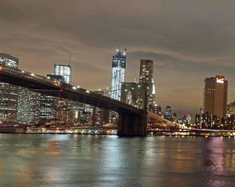 "Brooklyn Bridge and Manhattan 30"" x 10"" canvas"
