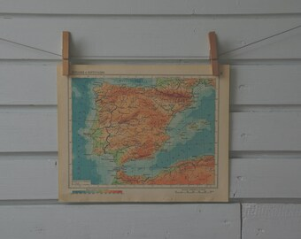 1956 Vintage Map of Spain & Portugal