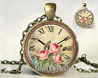 Clock Pendant, Clock Necklace, Clock Jewelry, Pink Roses Necklace, Pink Roses,Watch,Vintage,Victorian,Steampunk,Cute, Picture, Glass