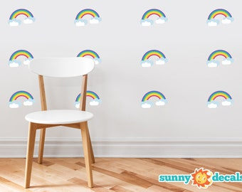 Rainbow Pattern Fabric Wall Decal - Set of 12 Mini Rainbows Wall Décor, Baby Nursery Rainbow Wall Art Stickers, Peel and Stick Home Decor