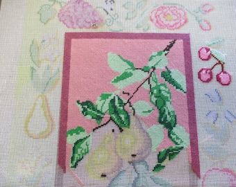 Needlepoint canvas fruit on a pink background  1/4 done unfinished preworked  16 by 19 inches no yarn included no instruction
