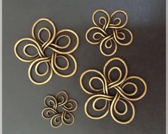 5 flowers in antique bronze