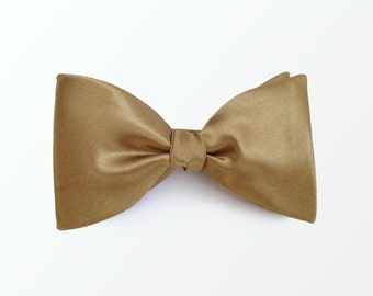 Bow Tie, Men's Gold Satin Self Bow Tie for Wedding, Tuxedo Party and Gift / READY TO SHIP