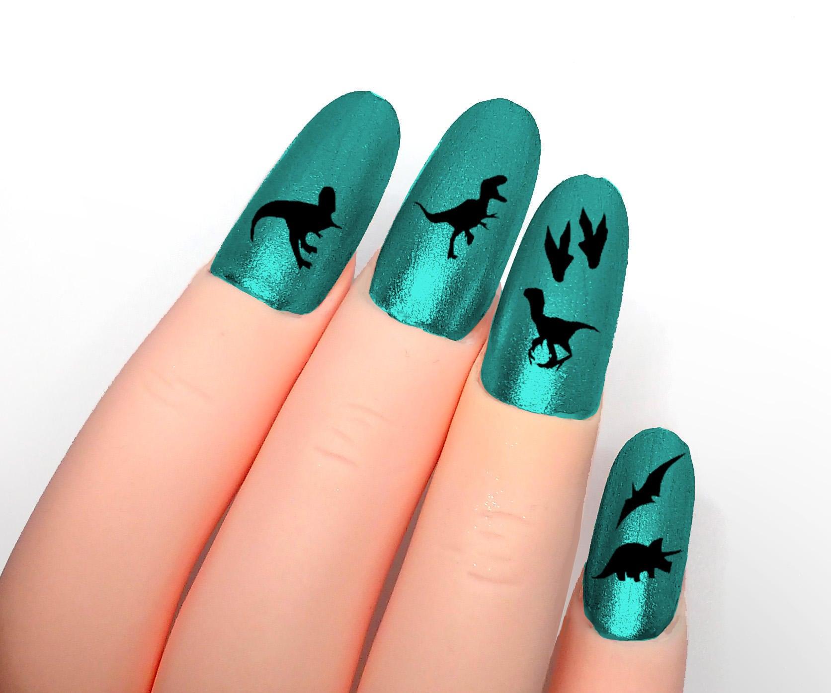 Dinosaur nail sticker Jurassic park Prehistoric art