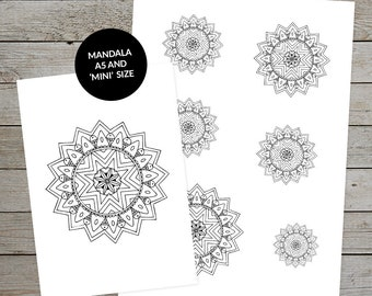 Printable Mandala (No.3) - Hand Drawn Mandala - Ideal For Bullet Journal - A5 and Mini Size Mandalas - Printable Planner Stickers