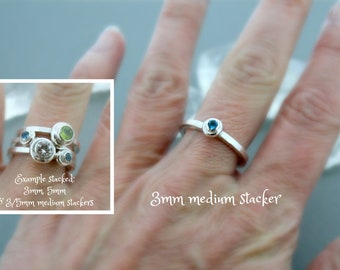 3mm round Medium Stacker - Birthstone Ring