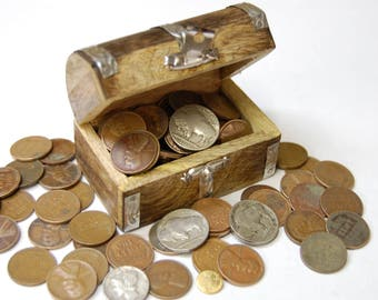 Vintage Coins / Silver Coin / Gold Coin / Treasure Chest / Over 1/2 Pound of Coins / Buffalo Nickels / Wheat Pennies / Coin Collection