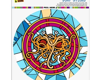 Flying spaghetti monster stained glass automotive car window locker circle bumper sticker