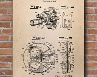 Vintage Movie Camera Patent, Film Camera Print, Camera Patent, Home Decor - DA0417