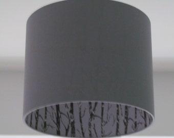 NEW Handmade Woods Silhouette Trees Light Grey Drum Lampshade Lightshade