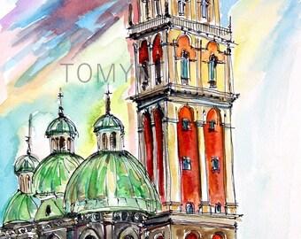 UKRAINE WALL ART. Lviv City. Lviv Fine Art.  Original watercolor painting. Assumption Church, Tower Kornyakta.