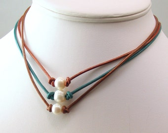 More Pearls and Leather Chokers, Choose Leather Color and One or Three Pearls, Rustic Pearl Necklace, Nature Fashion for Summer