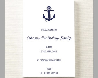 10 x Personalised Birthday Invitation Party Theme With Anchor Cards.