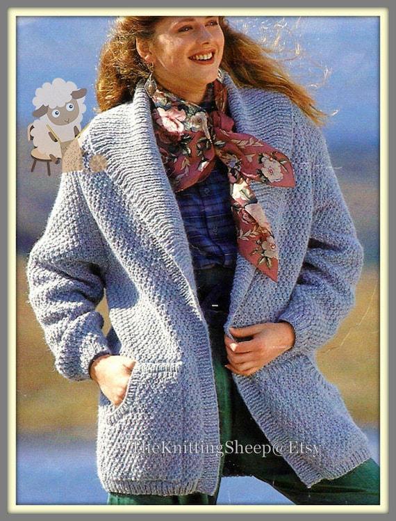 Pdf Knitting Pattern Ladies Easy Knit Chunky Knit Edge To Edge