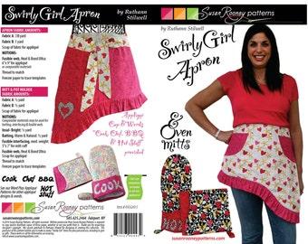Swirly Girl Reversible Apron, Oven Mitt, & Pot Holder