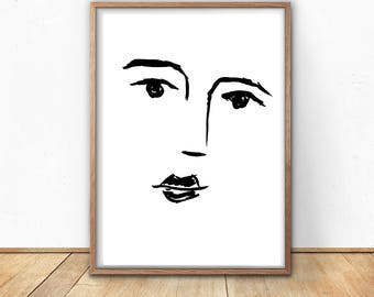 Line Drawing Face Woman : Drawing a face etsy
