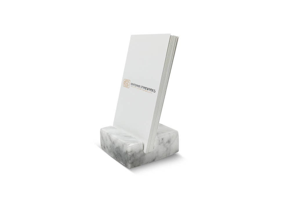 Vertical Business Card Holder made from White Carrara Marble