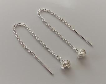 925 Sterling Silver Knot Threader Earrings.