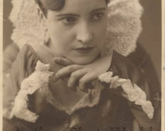 Beautiful woman actress ? antique rppc photo