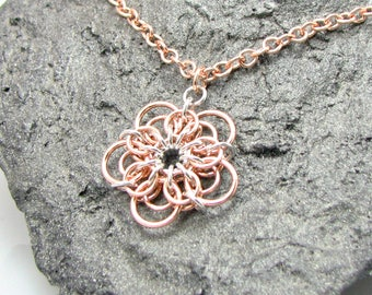 ON SALE Demeter Chainmaille Flower Pendant