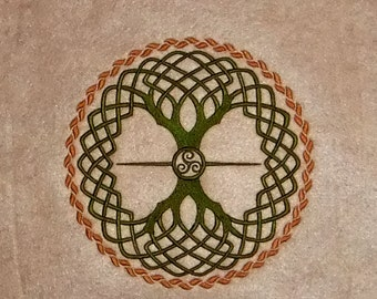 Celtic Circle Tree of Life (embroidered wall art)