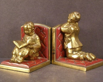 1930's Antique Chinese Students Ronson Spelter Figure Statue Sculpture Bookends