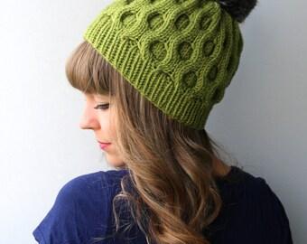 Wool & Acrylic Blend Yarn / Wool Hat / Faux Fur Pom Pom / Slouchy hat/ Avocado / Grass / Green / Olive / Jade / Pea Green