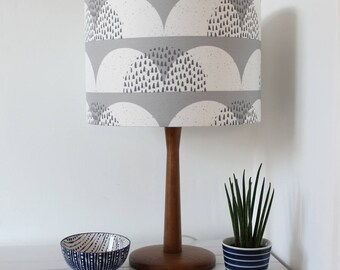 Grey and White Cumulus Cloud Print Fabric Lampshade Scandi Fabric Drum Light Shade