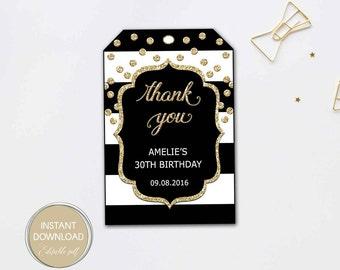 THANK YOU TAGS printable, editable tags, black stripe gold favor tags, Gift Tag, birthday, bridal shower Editable Pdf Instant Download #B12
