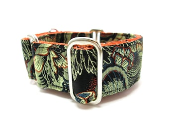 """Houndstown 1.5"""" Midnight Bloom Unlined Martingale or Buckle Collar Size Small, Medium, Large, X-Large"""