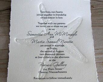 Beach Wedding--Embossed Starfish Invitation SAMPLE