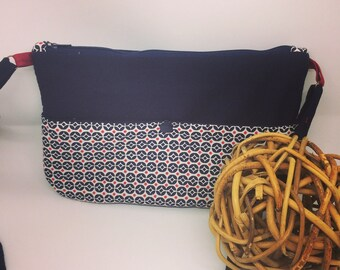 Navy Blue and fabric shoulder bag with geometric patterns