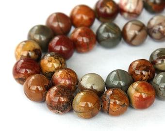Natural Red Creek Jasper Beads, 8mm Round - 15 inch Strand - eGR-JA011-8