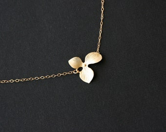Gold orchid necklace, gold filled chain, flower necklace - wedding jewelry, bridesmaids gifts, flower girl, simple gold jewelry
