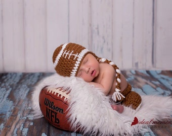 Newborn Football Player Prop/ Sports Fan Newborn Prop/ Baby Shower Gift/ Football Prop/ Crochet Football Hat/Newborn Sports Prop