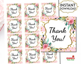 Pink & Gold Favor Tags Stickers, Pink Floral Thank You Tags, Gift Tags Printable, Girl Baby Shower, Bridal Shower, INSTANT DOWNLOAD, C18