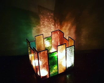 Hand made stained glass tealight