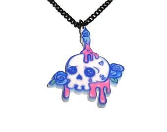 Creepy Cute Skull Necklace, Melting Candle, Dripping Font, Pastel Goth Kawaii Art Pendant