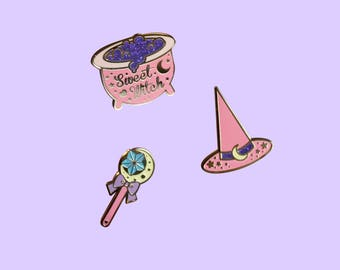 Sweet Witch Pin Collection - Pink and Gold Version